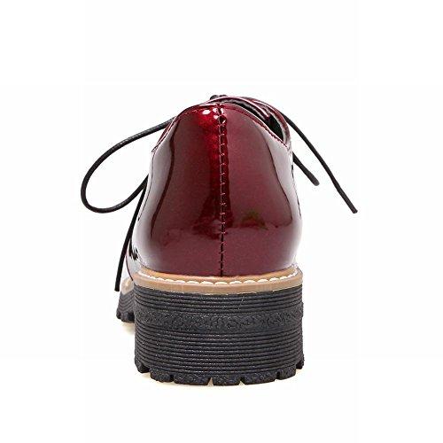 Carolbar Kvinna Lackläder Mode Spets-up Låg Häl Oxfords Skor Vinröd