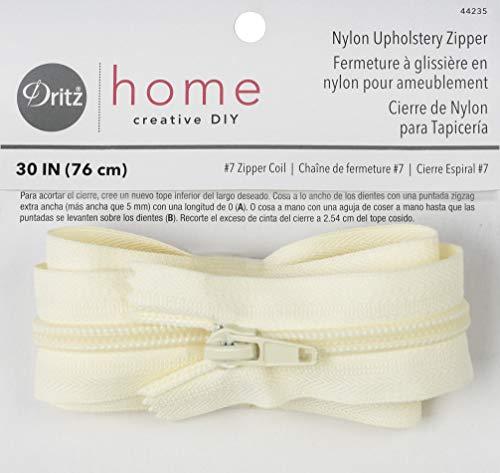 - Dritz 44235 Nylon Upholstery Zipper, Cream, 30-Inch