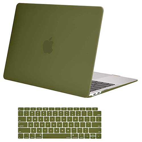 MOSISO MacBook Air 13 Inch Case 2018 Release A1932 with Retina Display, Plastic Hard Case Shell & Keyboard Skin Cover Only Compatible Newest MacBook Air 13 with Touch ID, Capulet Olive