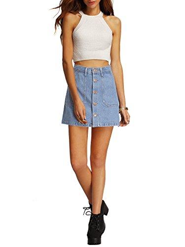 aeb3e64758 SheIn Women's Button Front Denim A-Line Short Skirt - Buy Online in ...