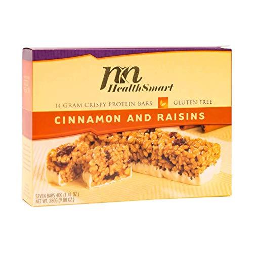 HealthSmart - High Protein Diet Bars - Crispy Cinnamon Rasin - 14g Protein - Low Calorie - Low Fat - Gluten Free (7/Box)