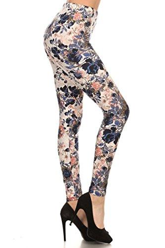 R593-PLUS Bloom Time Print Fashion Leggings