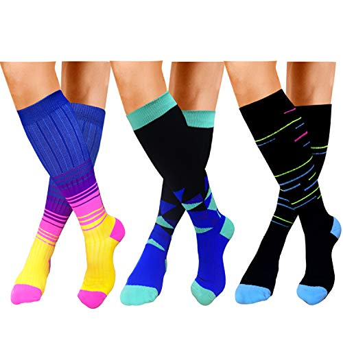 1c519084972e9 Compression Socks For Women&Men 20-30mmHg - Best for Running,Travel,Cycling,Pregnant  (Small/Medium, B -Multicolour 2)