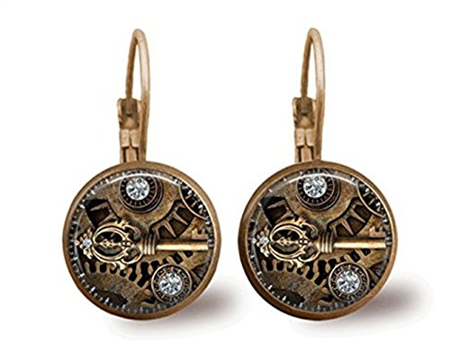 Steampunk Earrings Key Earrings Key Jewelry Glass Tile Earrings Brass Jewelry Steampunk Jewelry 3