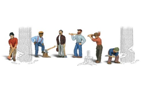 Woodland Scenics HO Scale Scenic Accents Figures/People Set Lumberjacks (6) by Woodland - Accents Scale Scenic Figures