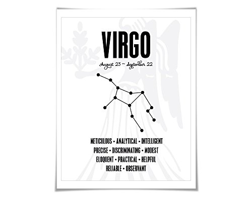 Virgo Personality Character Traits Art Print. 60 Colours/5 Sizes. Astrology Zodiac (Virgo Sign Personality)