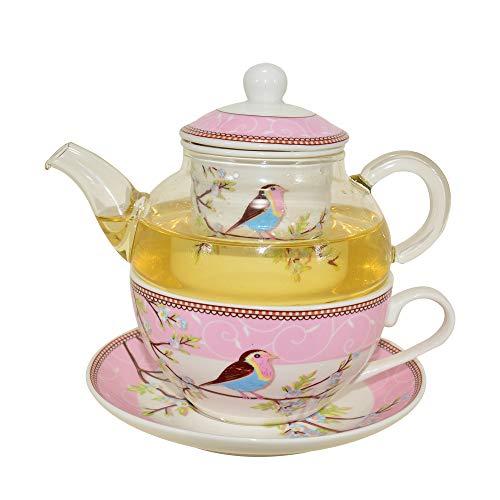 CHILDHOOD Mocking Birds (Robins) Tea for One Set, Borosilicate Glass Teapot and Fine China Porcelain Cup Saucer, Blue/Pink (PINK) (Teapot Hood)