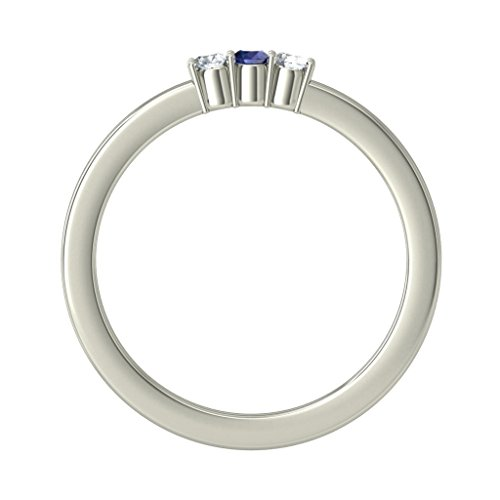14K Or blanc, 0.06CT TW Diamant Blanc (IJ | SI) Saphir bleu et diamant Bague