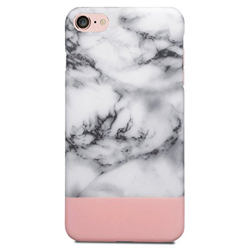 iPhone 8 Case, iPhone 7 Case, Jwest Unique Marble Design Rose Gold Geometric Anti-Scratch &Fingerprint Shock Proof Thin Non Slip Matte Back Hard Protective Cover for Apple iPhone 7 / iPhone 8 4.7