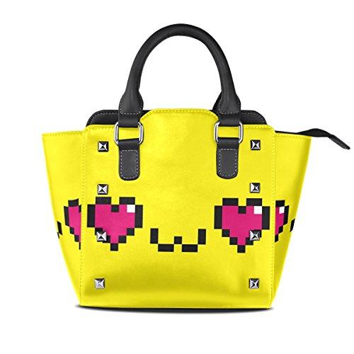 COOSUN Damas Emoji Pixel de la historieta en amor Cara bolsas aisladas de la PU de hombro de cuero Top-Manija del totalizador del bolso del bolso de Crossbody Medio Multicolor