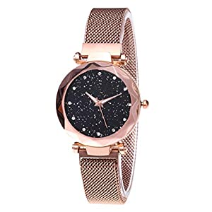 Womens Crystal Starry Sky Quartz Watch – Diamond Cutting Glass Mirror, with Magnetic Buckle Band Elegance Women's Wrist…