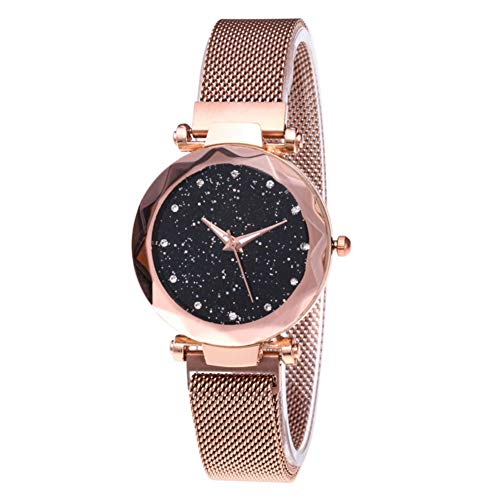 Dial Shining Round (Women Watch - Fashion Simulated Diamond Cutting Starry Sky Dial Mesh Straps Bracelet Wristwatch)