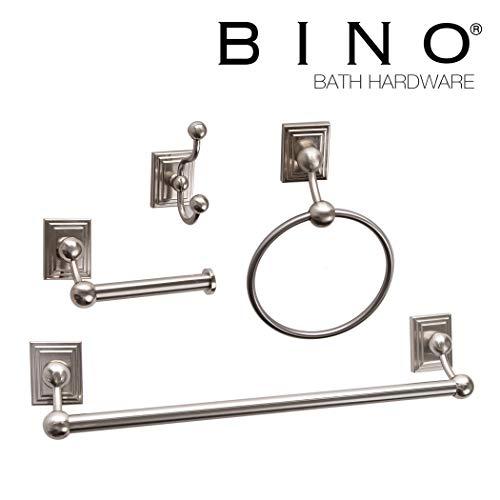 BINO 'Arden' 4-Piece Bathroom Hardware Set with 18-Inch Towel Bar, Brushed Nickel - Bathroom Accessories Set - Bathroom Towel Bar Set Towel Rack Set ()