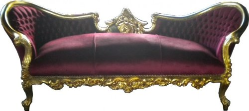 Casa Padrino Barock Sofa Vampire Bordeaux / Gold - Limited Edition