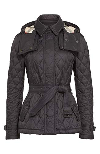 BURBERRY Finsbridge Check Trim Hooded Diamond Quilted Coat in Black