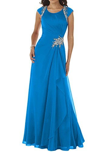 Kurzarm mia Festlich Bodenlang Formal A Kleider Dunkel Chiffon La Rock Blau Linie Blau Kleider Brautmutterkleider Braut Abendkleider PIxHz1xd