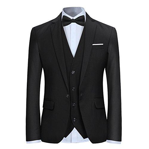 Noir Costume Unie En Couleur Et Cérémonie Fit Homme Slim Veste Mariage Gilet Pantalon 77pWnrFxR6
