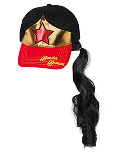 [Wonder Woman Girls Baseball Cap Hat with Ponytail] (Girls Swimming Costumes Age 13)