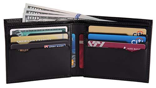 Men's Classic Bifold RFID Blocking Wallet with 6 card slots - Black