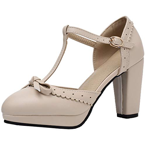 Womens Vintage Rockabilly Shoes T Strap Mary Jane Chunky Heel Bow Pumps Size 4.5B(M) US,1 Taupe