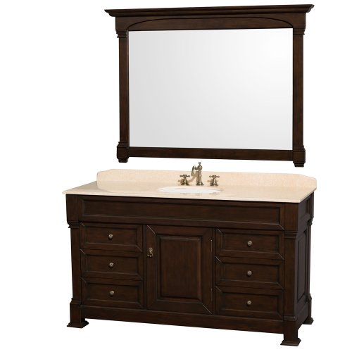 - Wyndham Collection Andover 60 inch Single Bathroom Vanity in Dark Cherry with Ivory Marble Top with White Undermount Round Sink and 56 inch Mirror