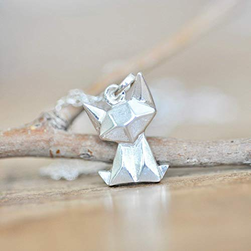 (Origami Cat Necklace in Sterling Silver 925 with 16 Inch Chain)