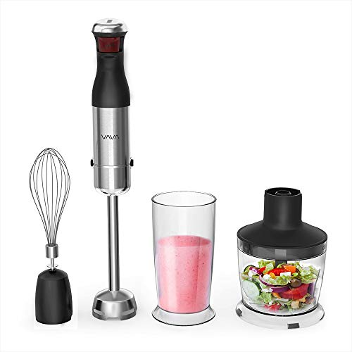 VAVA Hand Blender with TRUELY BPA-free Tritan Beeker & Chopper Bowl, 300W 5-Speed Immersion Blender 4-in-1 Set with Whisk for Shakes, Smoothies, Sauces, Baby food, Soup and more [FDA Approved]