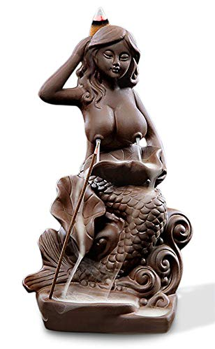 OTOFY Mermaid Ceramic Incense Holder Backflow Incense Burner with 10 Incense Cones Artwork Home Décor Figurine Aromatherapy Sculptures Fantasy Gifts (Mermaid)