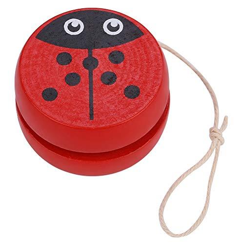 Zerodis Colorful Yo-yo Ball Toy Responsive Magic Cute Wooden Yo-yo Early Education Toy with Cartoon Pattern for Kid Child(Beetle) ()