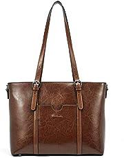 BOSTANTEN Womens Genuine Leather Handbags Top-Handle Bag 15.6 inch Laptop Shoulder Bag Large Capacity Ladies Work Tote Bags