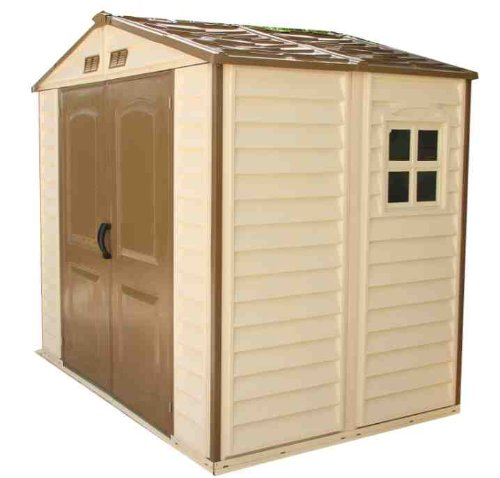 Storeall 8 x 6 vinyl storage shed with foundation garden for Vinyl storage sheds