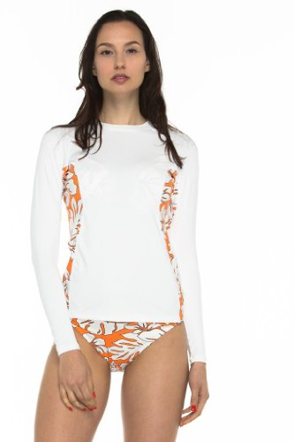 Private Island Hawaii UV Women Wetsuits Long Sleeve Rash Guard Top White with Orange and Ivory White Large ()