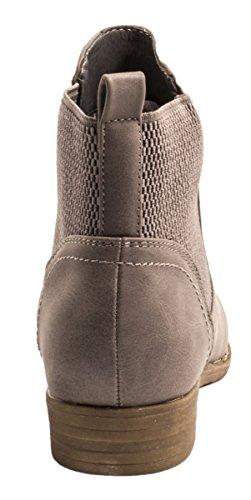 Elara Chelsea Boots | Bequeme Damen Stiefeletten | Lederoptik Blockabsatz |chunkyrayan Grau