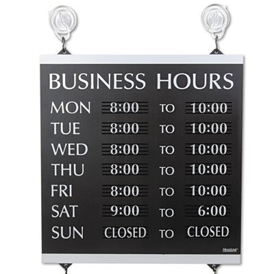 Century Series Business Hours Sign, Heavy-Duty Plastic, 13 x 14, Black, Sold as 1 Each ()