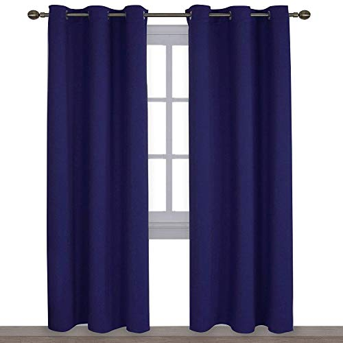 (NICETOWN Window Treatment Energy Saving Thermal Insulated Solid Grommet Blackout Curtains/Drapes for Livingroom (Royal Navy Blue, 1 Pair,42 by 84-Inch))