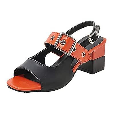 TAOFFEN Women Fashion Block Mid Heel Sandals Open Toe Shoes Back Band Cosplay Shoes Orange Size 33 Asian