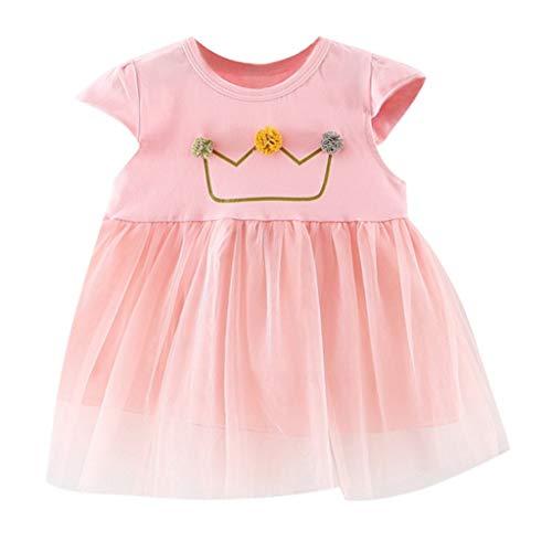 (MOGOV Toddler Kid Baby Girl Hydrangea Decoration Short Sleeve Printed Lace Stitching Princess Dress Clothing Pink)