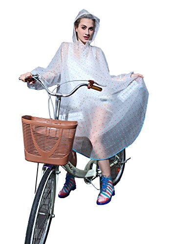 Aircee Women Cycling Rainwear Ladies Dots Style Hooded Raincoat Sweater Poncho (Blue Red Dots) (Pvc Rainwear)