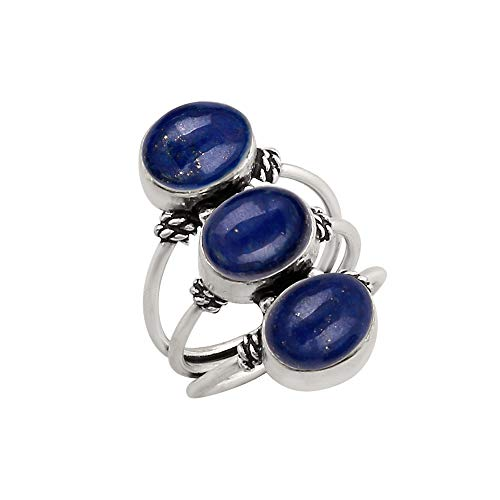 925 Silver Plated Lapis Ring 3 Stone Vintage Style Handmade for Women Girls (Size-7.5) (8 Oval Mens Ring Setting)