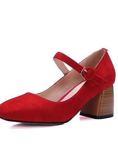 GGX/ Damen-High Heels-Büro / Kleid / Lässig-Leder-Blockabsatz-Absätze / Quadratische Zehe-Schwarz / Rot red-us6.5-7 / eu37 / uk4.5-5 / cn37