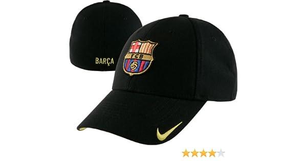 c3b67cec825 Amazon.com   Nike FC Barcelona Black Swoosh Stretch Fit Hat   Sports Fan  Baseball Caps   Sports   Outdoors