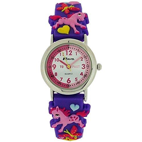 Ravel Girls-Kids 3D Love My Pony Time Teacher Purple Strap Watch R1513.70 - Pony Watch