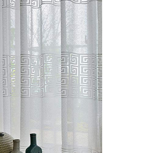 LIVETTY Elegant Decorative White Sheer Curtains for Living Room Classic Voile Curtains for Bedroom 1 Grommet top Panel (Square, 52x95 ()