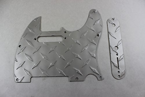 Satin Diamond Plate Aluminum Pickguard Set Fits Fender Tele Telecaster (Guitar Plate Diamond)