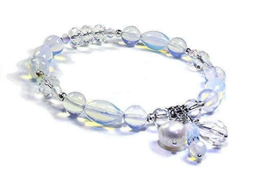 Opalite & Swarovski Crystal Beaded Bangle Bracelet - Reiki Healing Energy