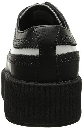 T.U.K. Shoes Mens Black White Leather Wingtip Viva High Sole Creeper EU45 / UKM11