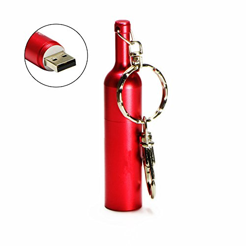 WooTeck 32GB Metal Smooth Winebottle USB 2.0 Flash Drive Memory Stick with Keychain,Rose