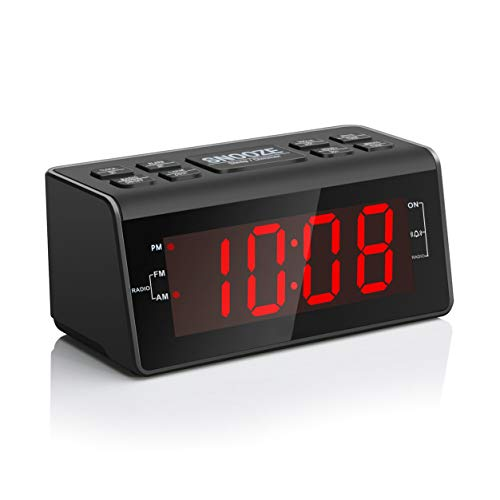 Digital Alarm Clock Radio with AM/FM Radio, 1.2 Big Red Digits Display, Sleep Timer, Dimmer and Battery Backup, Bedside Alarm Clocks with Easy Snooze for Bedrooms, Table, Desk - Outlet Powered