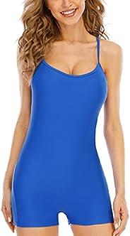 Halcurt Womens One Piece Swimsuit Athletic Boyleg Bathing Suit Lap Tummy Control Sport Swimwear