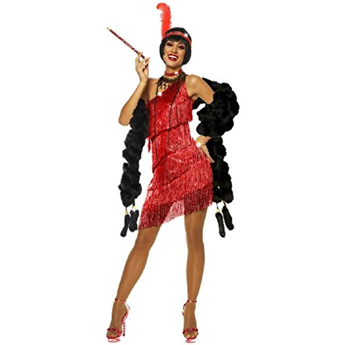 OvedcRay 1920S Roaring 20'S Adult Dazzling Flapper Gatsby Costume Dress Black Red (Gatsby Mens Dress)